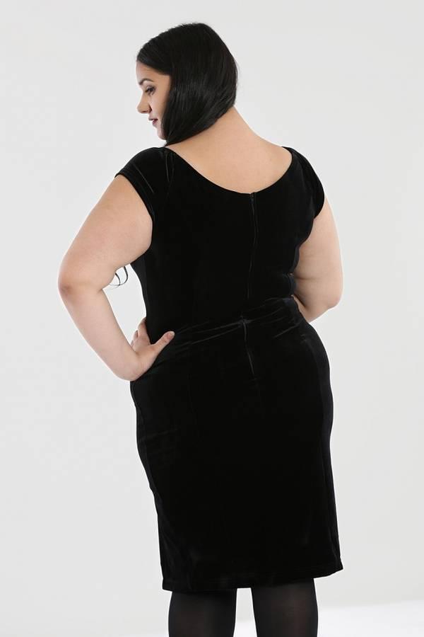 Hell Bunny figurnær kjole Film Noir PLUS, Sort fløyel